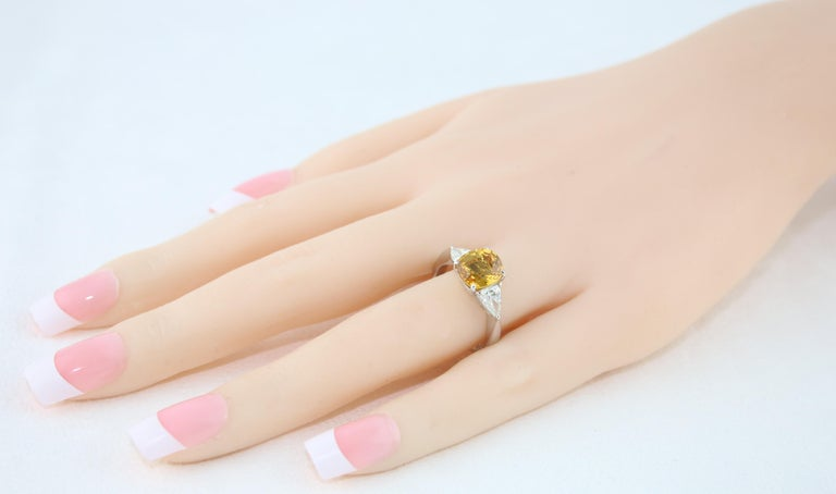 AGL Certified 3.16 Carat Cushion Orange Yellow Sapphire Diamond Gold Ring In New Condition For Sale In New York, NY