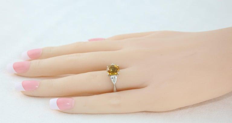 Women's AGL Certified 3.16 Carat Cushion Orange Yellow Sapphire Diamond Gold Ring For Sale
