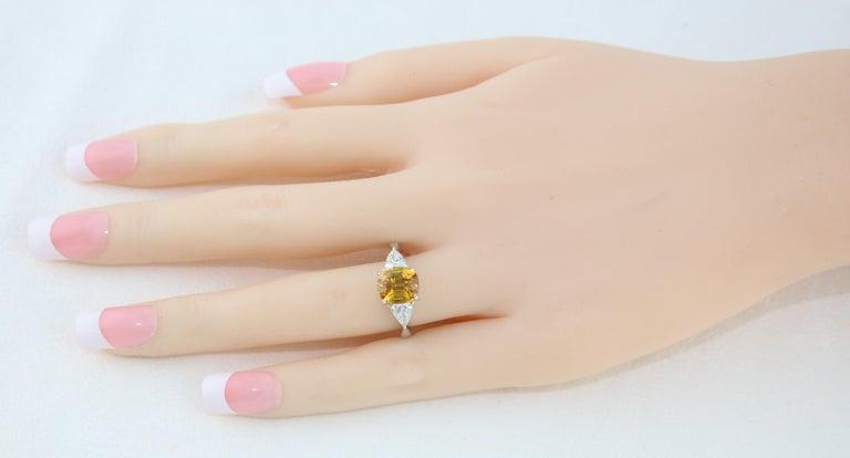 AGL Certified 3.16 Carat Cushion Orange Yellow Sapphire Diamond Gold Ring For Sale 1