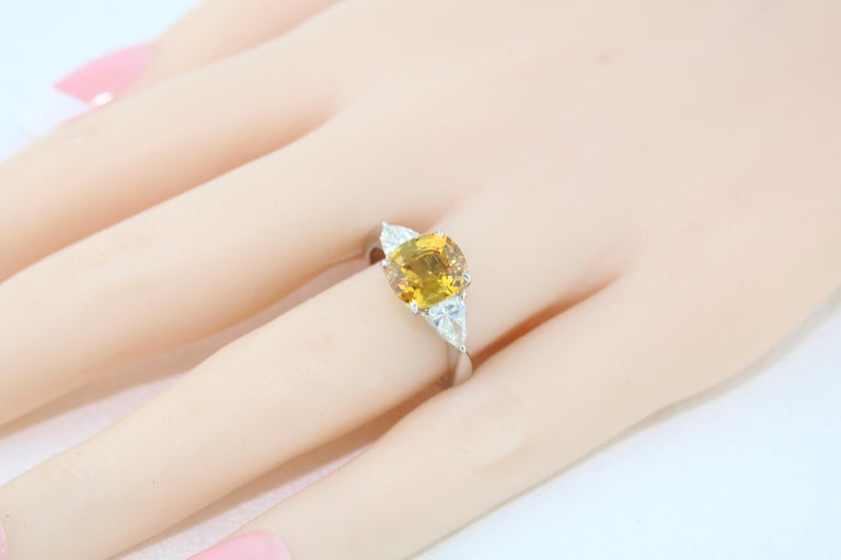 AGL Certified 3.16 Carat Cushion Orange Yellow Sapphire Diamond Gold Ring For Sale 2