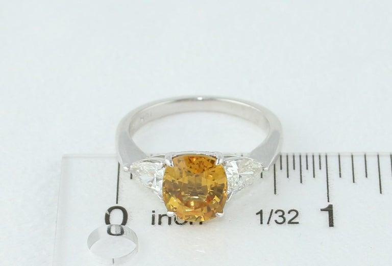 AGL Certified 3.16 Carat Cushion Orange Yellow Sapphire Diamond Gold Ring For Sale 3