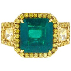 AGL Certified 3.53 Carat Colombian Emerald and Yellow Diamond Engagement Ring