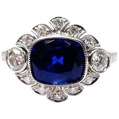 AGL Certified 3.62 Carat Sapphire and Diamond Platinum Ring by Tiffany & Co.