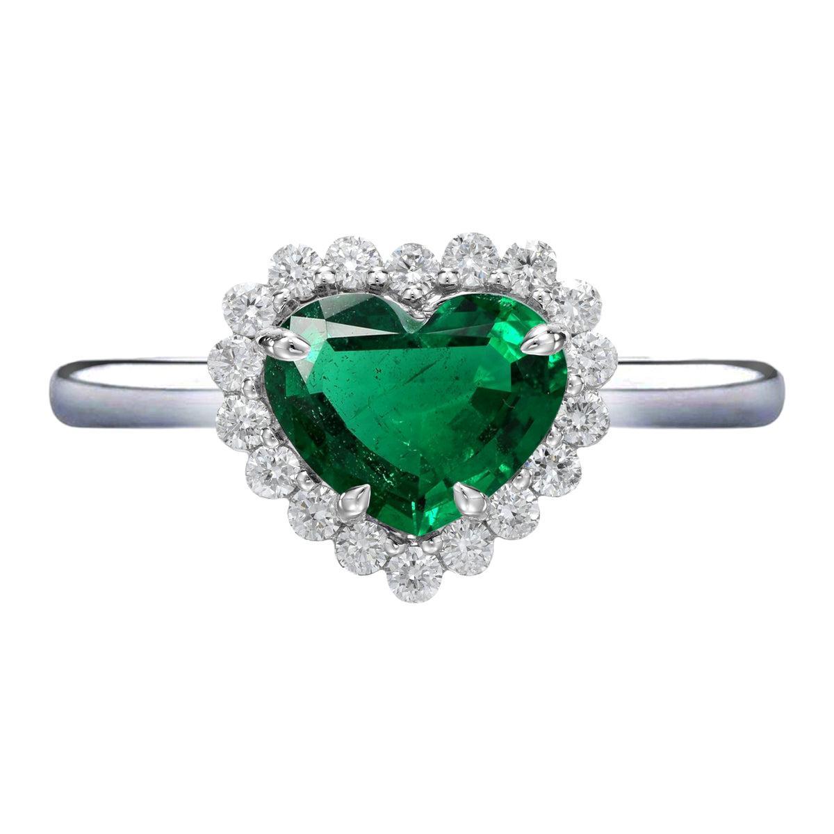 AGL Certified 3.68 Carat Heart Shape Green Emerald White Diamond Platinum Ring