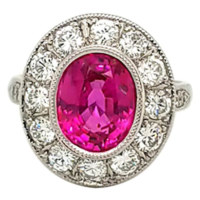 AGL Certified 3.93 Carat Non-Heated Pink Sapphire Diamond Ring