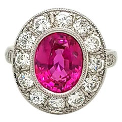 AGL Certified 3.93 Carat Non-Heated Pink Sapphire Diamond Ring