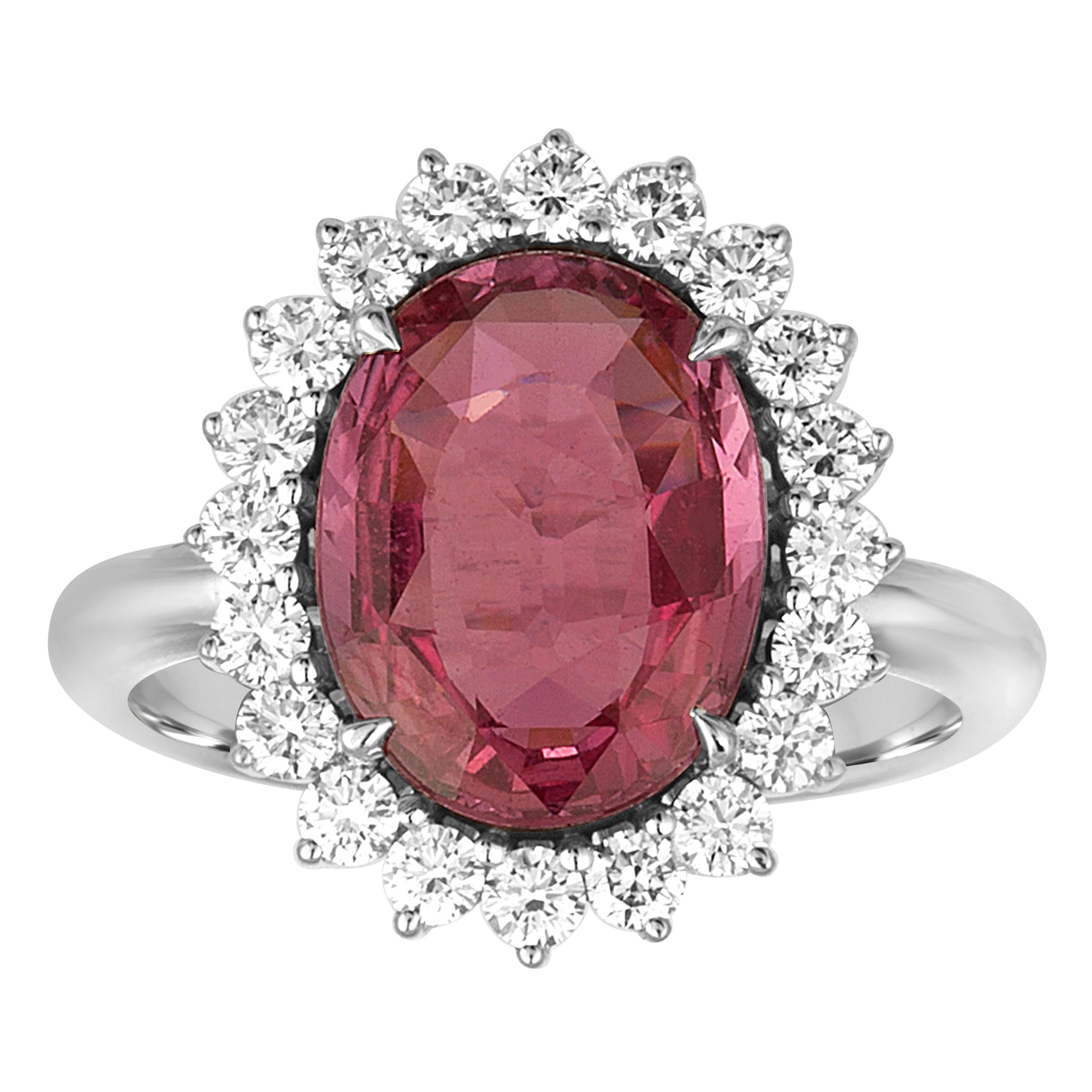 AGL Certified 4.06 Carat Oval Pink Sapphire Diamond Gold Ring