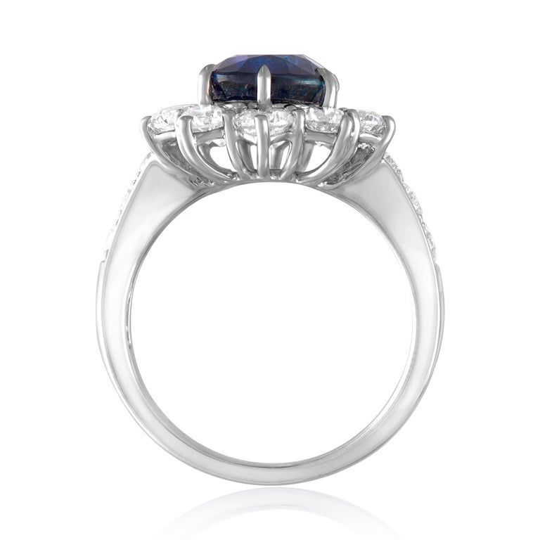 Contemporary AGL Certified 4.07 Carat No Heat Oval Blue Sapphire Diamond Gold Ring For Sale