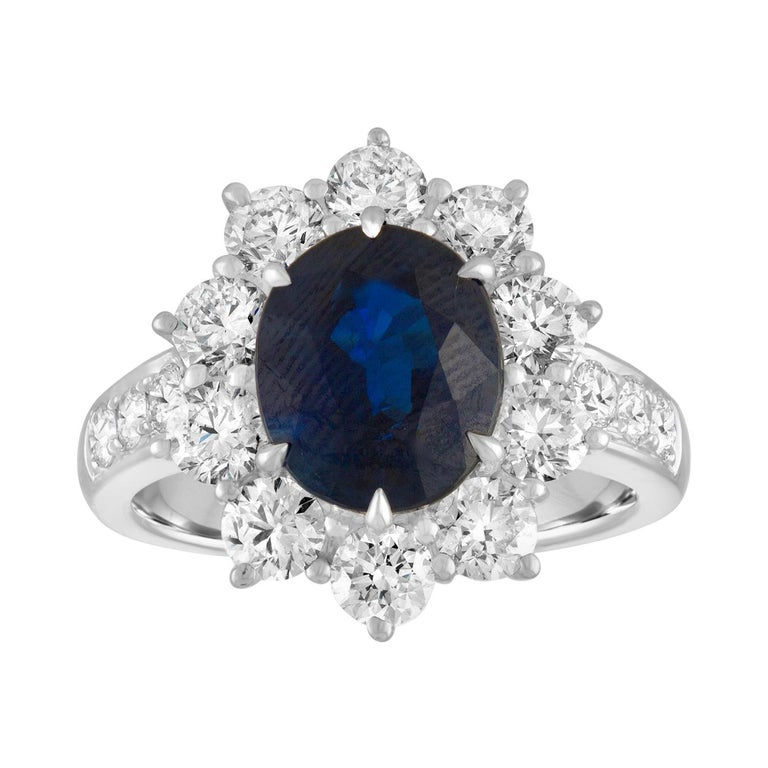 AGL Certified 4.07 Carat No Heat Oval Blue Sapphire Diamond Gold Ring For Sale