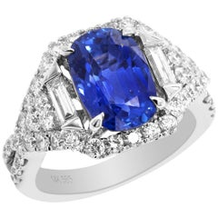 AGL Certified 4.09 Carat No Heat Ceylon Blue Sapphire White Gold Diamond Ring
