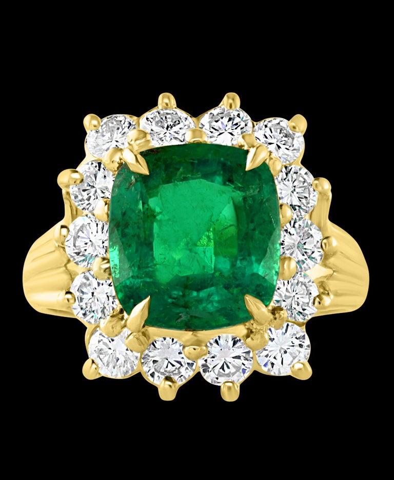Women's AGL Certified 4.2 Carat Cushion Cut Colombian Emerald & Diamond Ring 18K Y Gold For Sale