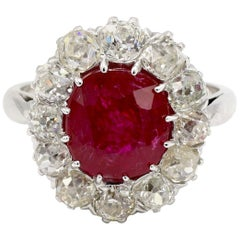 AGL Certified 4.30 Carat Burma Ruby and Mine Cut Diamond Ring