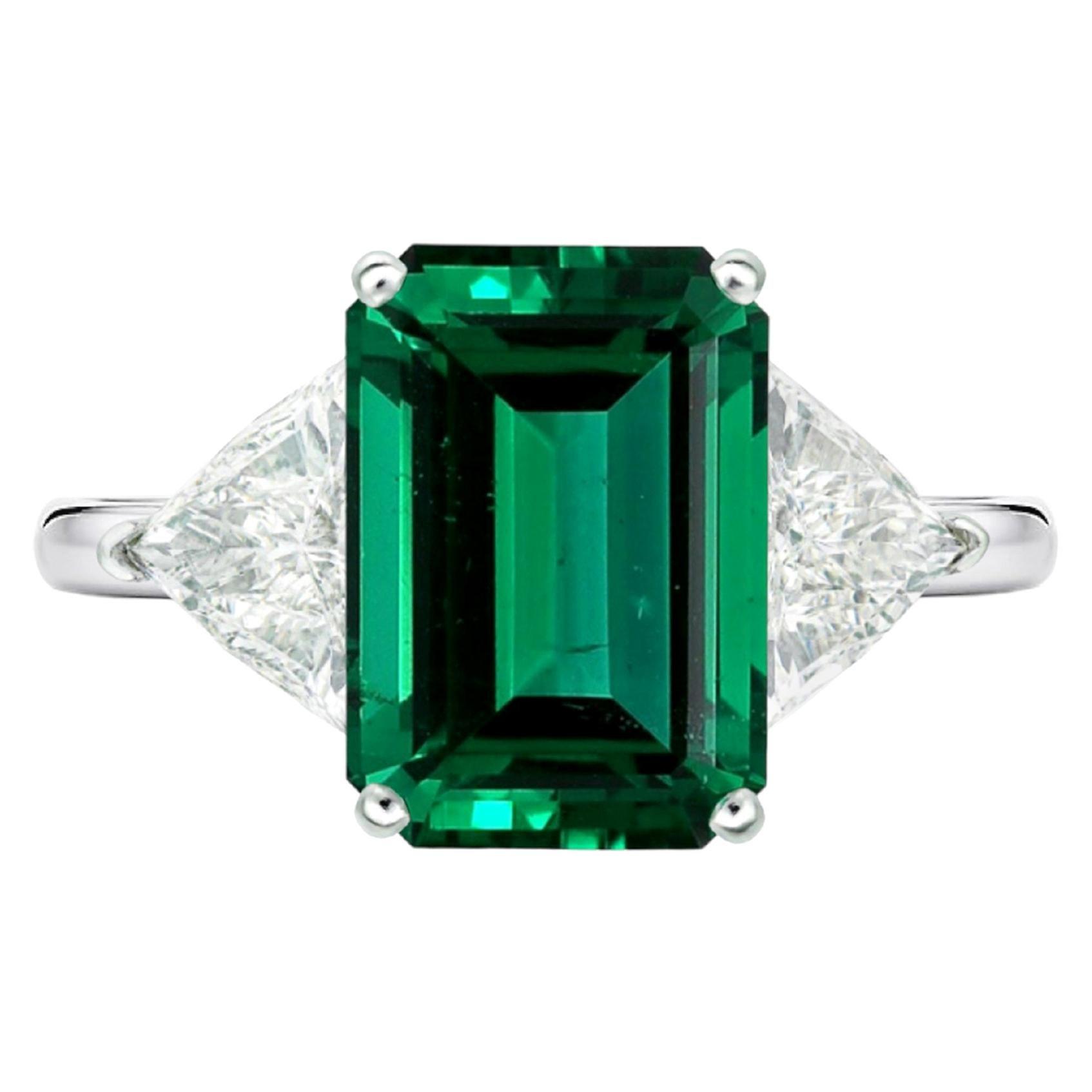 AGL Certified 4.50 Carat Zambian Emerald Trillion Diamond Ring