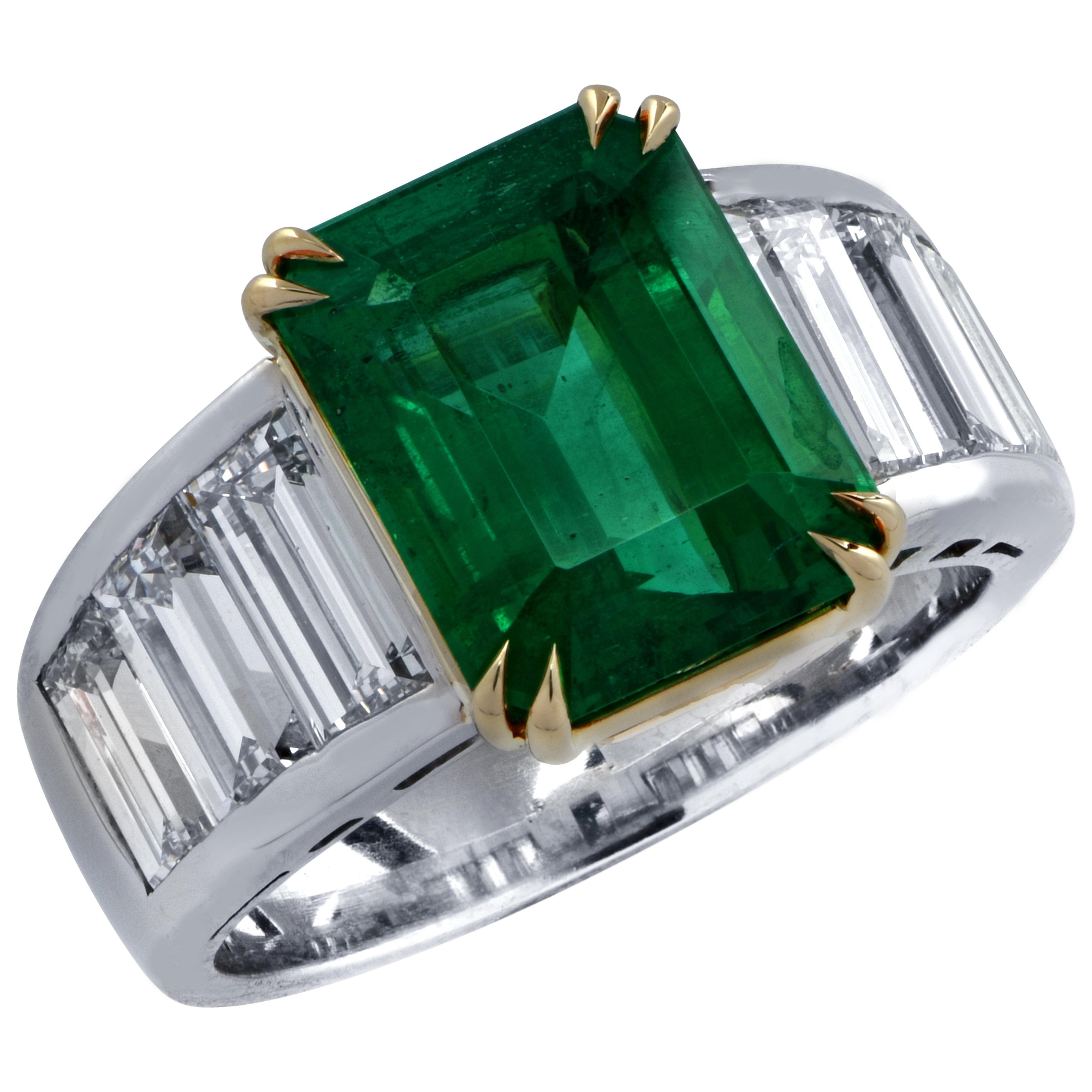 Vivid Diamonds Certified 4.87 Carat Emerald and Diamond Ring