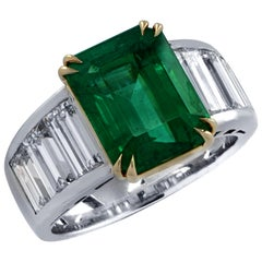 Vivid Diamonds Certified 4.87 Carat Emerald and Diamond Ring