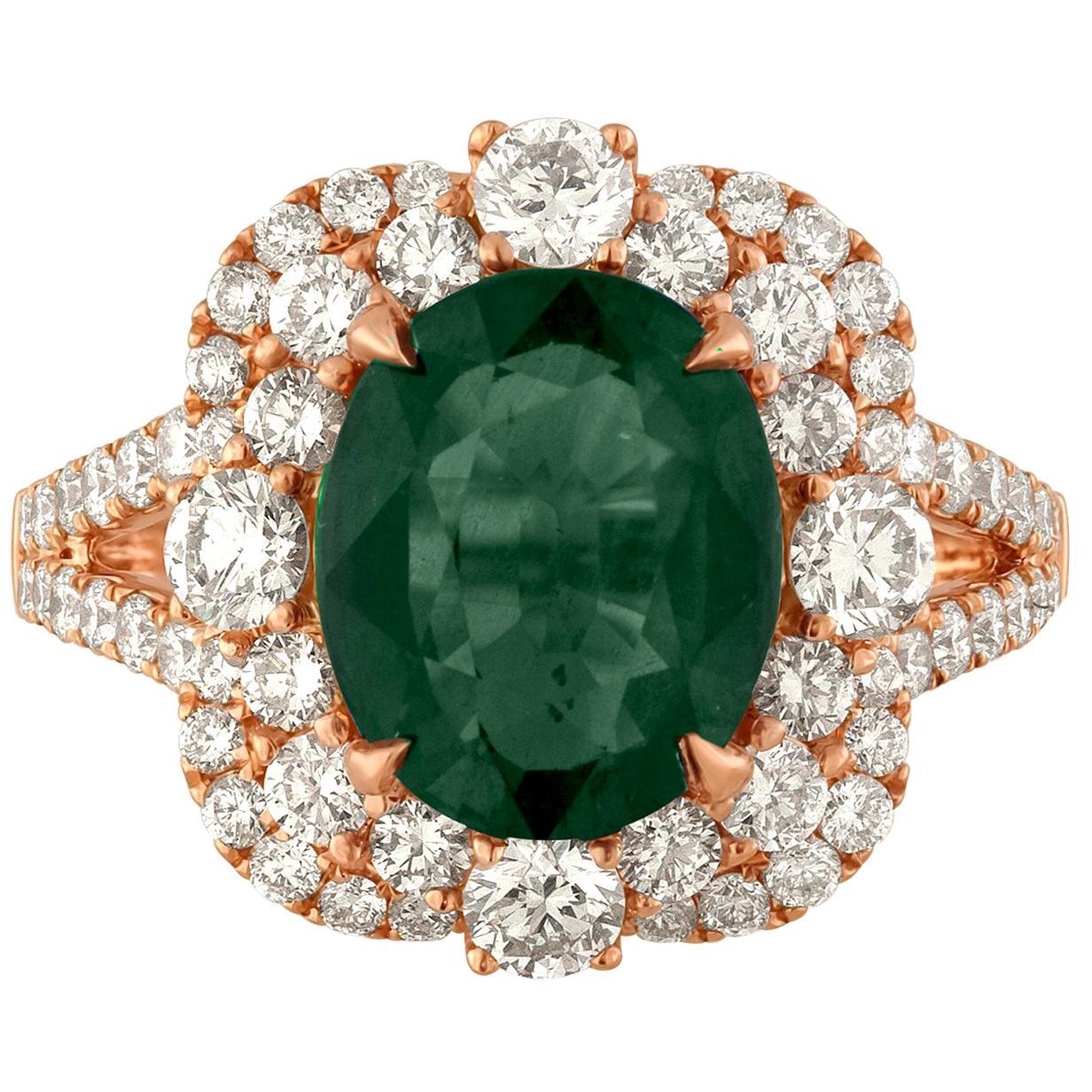 AGL Certified 4.88 Carat No Heat Brownish Green-Blue Sapphire Diamond Gold Ring