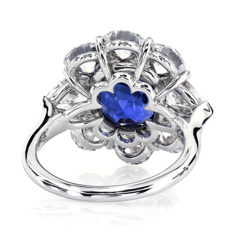Cushion Cut AGL Certified 4.90 Carat Unheated Kashmir Sapphire Diamond Cluster Platinum Ring For Sale