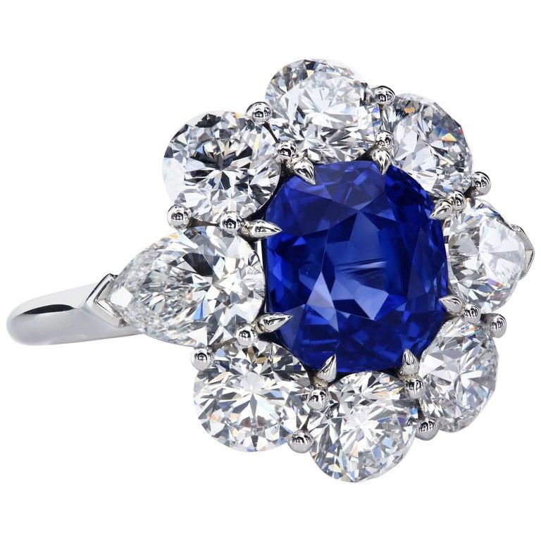 AGL Certified 4.90 Carat Unheated Kashmir Sapphire Diamond Cluster Platinum Ring For Sale
