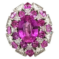 AGL Certified 5.07 Carat Oval Madagascar Unheated Pink Sapphire Platinum Ring