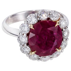 AGL Certified 5.25 Oval Burma Ruby and Round Diamond Ring