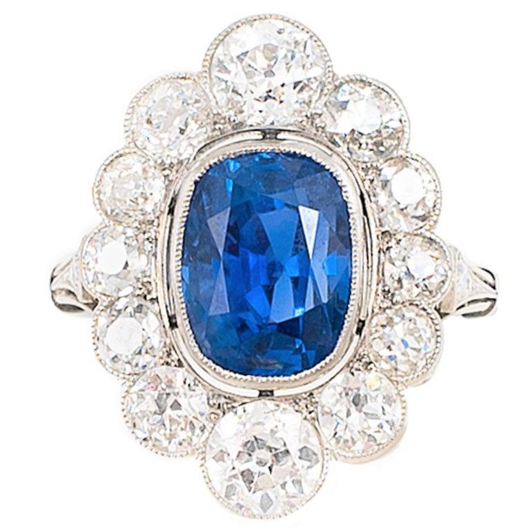 AGL Certified 5.32 Ct. UNTREATED Burma Sapphire Diamond Platinum Edwardian Ring