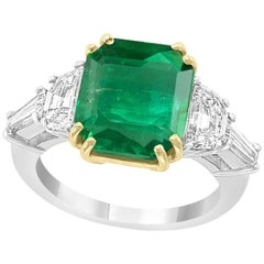 AGL Certified Minor 5.29 Ct Emerald Cut Colombian Emerald Diamond Platinum Ring