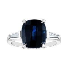 AGL Certified 5.54 Carat Cushion Blue Sapphire Diamond Platinum Gold Ring