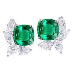 AGL Certified 6 Carat AAA+ Natural Emerald Diamond Earrings