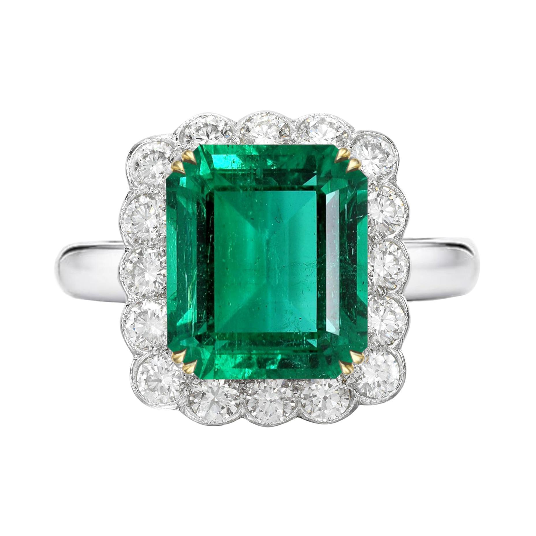AGL Certified 6.19 Carat Minor Oil AA+ Emerald Diamond Platinum Gold Ring