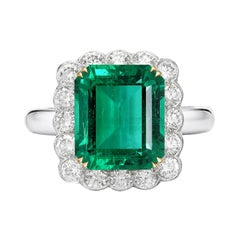 AGL Certified 6.19 Carat Minor Oil AA+ Emerald Diamond Platinum Gold Ring