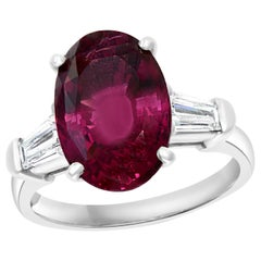 AGL Certified 6.45 Carat Oval Spinel and 0.6 Carat Diamond Ring Platinum, Estate