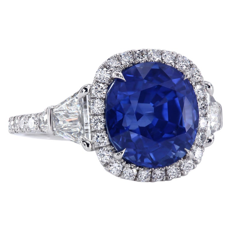36df6912c08965 AGL Certified 6.97 Carat Cushion Blue Sapphire Diamond Halo Three-Stone Ring  For Sale