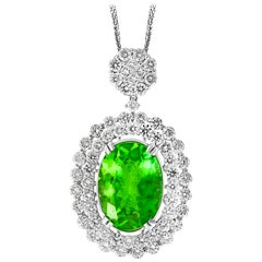 AGL Certified 7 Ct Pariba Tourmaline & 4.5 Ct Diamond Pendant Necklace 18 K Gold