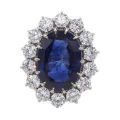 AGL Certified 7.09 Carat Blue Sapphire & Diamond Halo Cocktail Ring