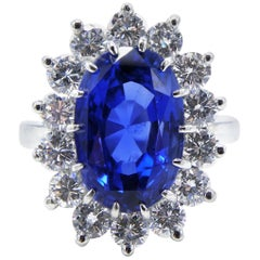 AGL Certified 7.31 Carat Ceylon Blue Oval Sapphire Platinum Diamond Ring