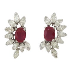 AGL Certified 7.90 Carat Burmese Rubies Diamond Platinum Earrings