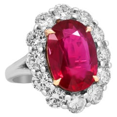 AGL Certified 8.43 Carat Natural Oval Ruby 18 Karat Gold Diamond Cocktail Ring