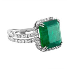 AGL Certified 8.81 Carat Emerald and Diamond Gold Ring