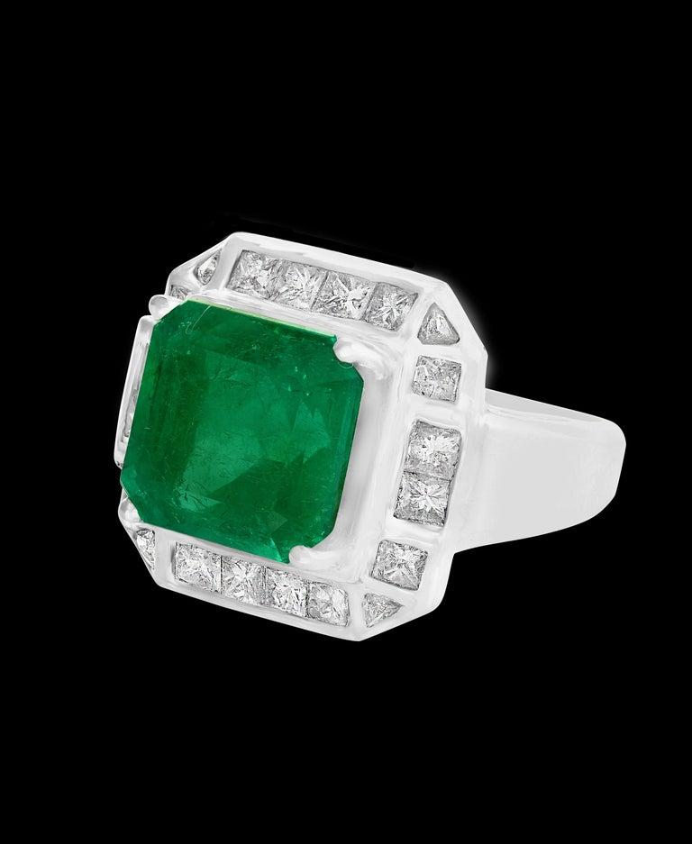 Women's AGL Certified  Minor 9 Carat Emerald Cut Colombian Emerald and Diamond Ring  For Sale