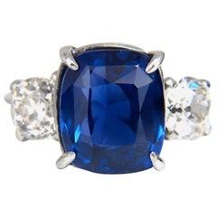 AGL Certified 9.23ct Natural No Heat Sri Lanka Sapphire Diamond Ring Platinum