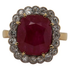 AGL Certified 9.73 Carat Burma Ruby No Heat and Diamond Ring in 18 Karat Gold