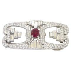 AGL Certified Antique Platinum 9.29ct VS Diamond No Heat Burma Ruby Brooch