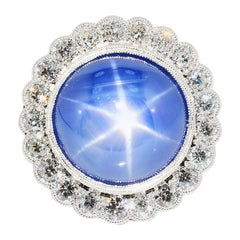 AGL Certified Blue Star Sapphire No Heat and Diamond Ring 18 Karat White Gold