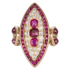 AGL Certified Burma No Heat Ruby and Diamond Cocktail Ring 14 karat Yellow Gold
