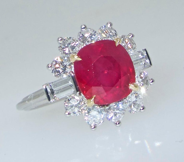 Contemporary AGL Certified Burma Ruby and Diamond Ring For Sale