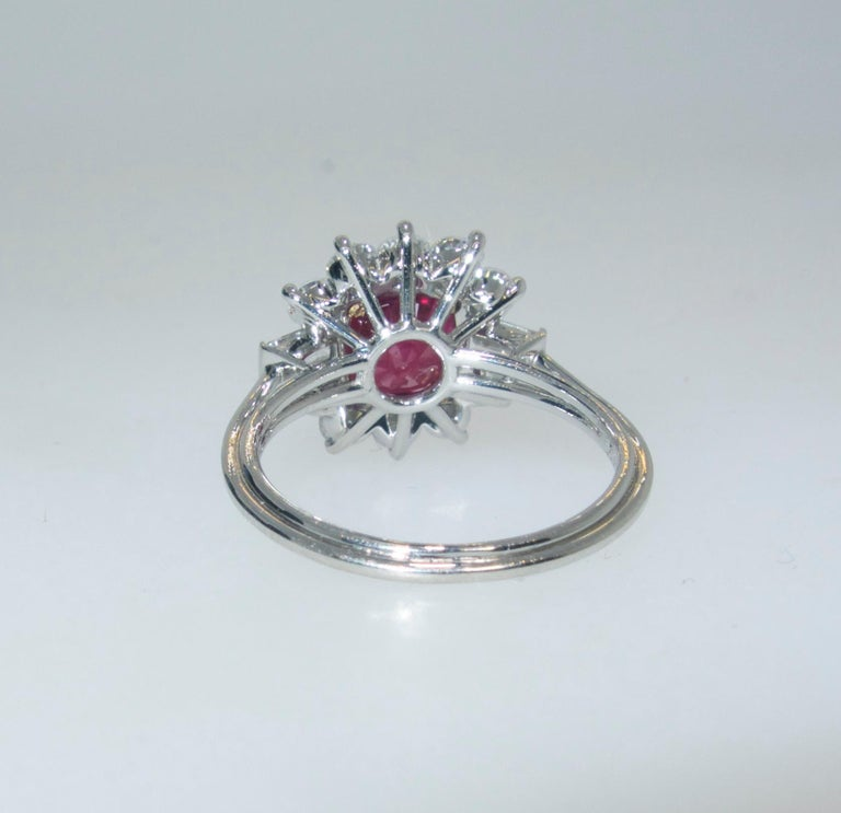 AGL Certified Burma Ruby and Diamond Ring In Excellent Condition For Sale In Aspen, CO