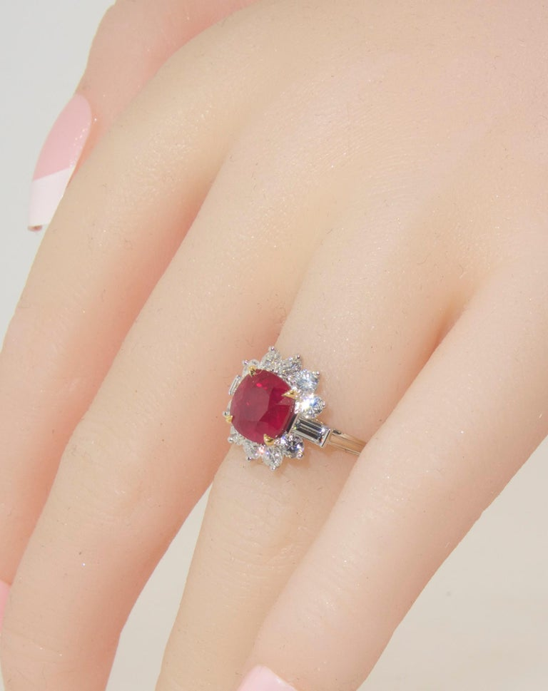 Women's or Men's AGL Certified Burma Ruby and Diamond Ring For Sale