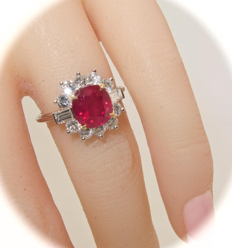 AGL Certified Burma Ruby and Diamond Ring For Sale 2