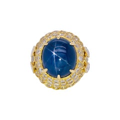 Blue Star Sapphire and Diamond Ring AGL Certified 19.80 Carat
