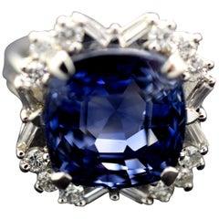AGL Certified Ceylon Sapphire 16.44 Carat Diamond Ring No Heat